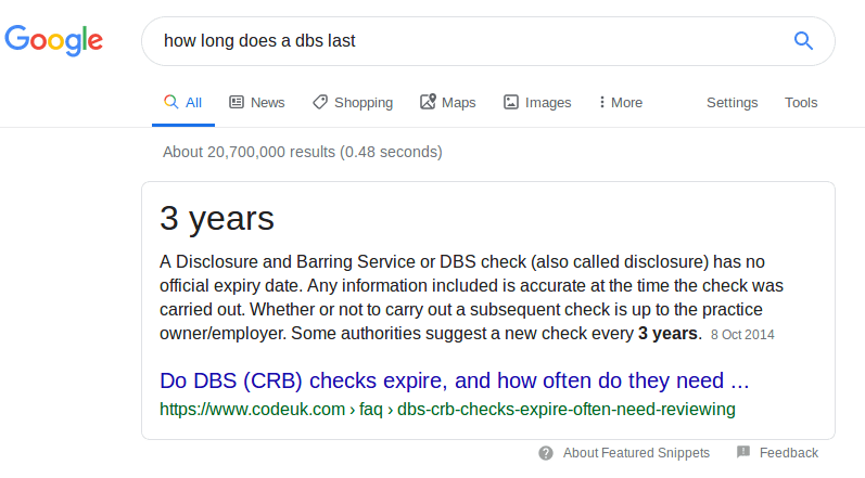 how long does a dbs last
